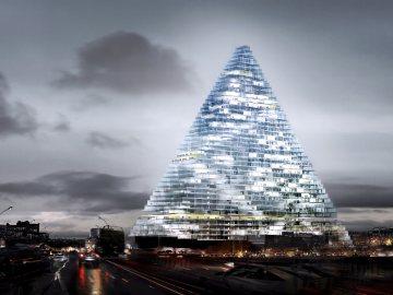 Herzog & de Meuron project of a triangle high rise building in Paris