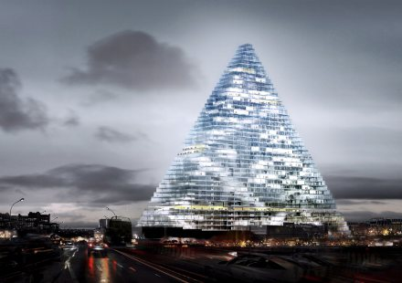 Herzog & de Meuron project of a triangle high rise building in Paris